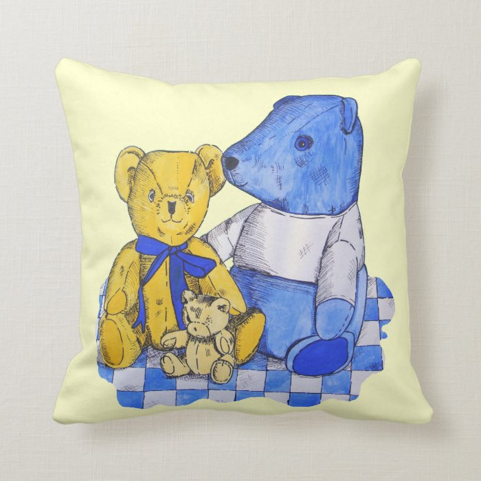 cute teddy bear still life art blue and yellow throw pillow