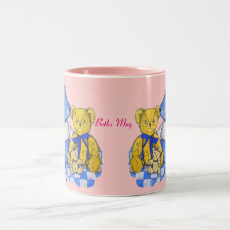 cute teddy bear still life art blue and yellow Two-Tone coffee mug