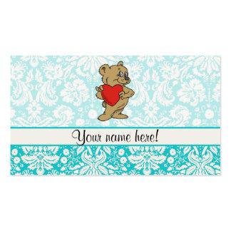Cute Teddy Bear; Teal Business Card