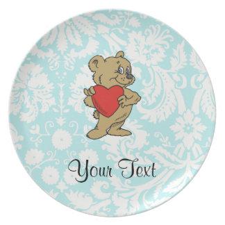 Cute Teddy Bear Teal Party Plates