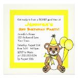 Cute Teddy Bear Theme Kids Birthday - Yellow Custom Invitations