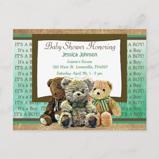 Cute Teddy Bear Themed Boy's Baby Shower Invitation Postcard