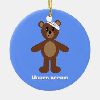 Cute Teddy Bear Under Repair Recovery Anniversary Ceramic Ornament