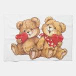 Cute Teddy Bear Valentine Couple Hand Towel