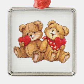 Cute Teddy Bear Valentine Couple Metal Ornament