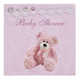 Cute Teddy Bear Vintage Lace Baby Girl Shower Card