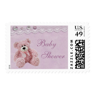 Cute Teddy Bear Vintage Lace Baby Girl Shower Postage
