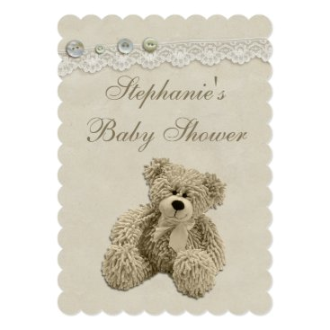 Toddler & Baby themed Cute Teddy Bear Vintage Lace Baby Shower Card