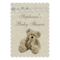 Cute Teddy Bear Vintage Lace Baby Shower Invitation