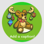 Cute Teddy Bear with Antlers Holiday Cards Stickers