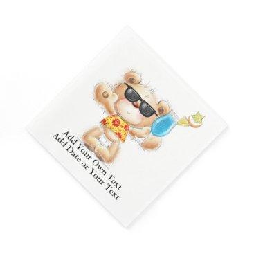 Beach Themed Cute Teddy Bear With Cocktail and Sunglasses Napkin