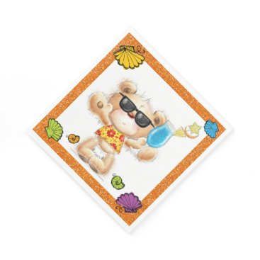 Beach Themed Cute Teddy Bear With Cocktail and Sunglasses Paper Napkin