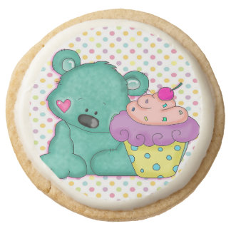 cute teddy bear with cupcake cartoon round shortbread cookie