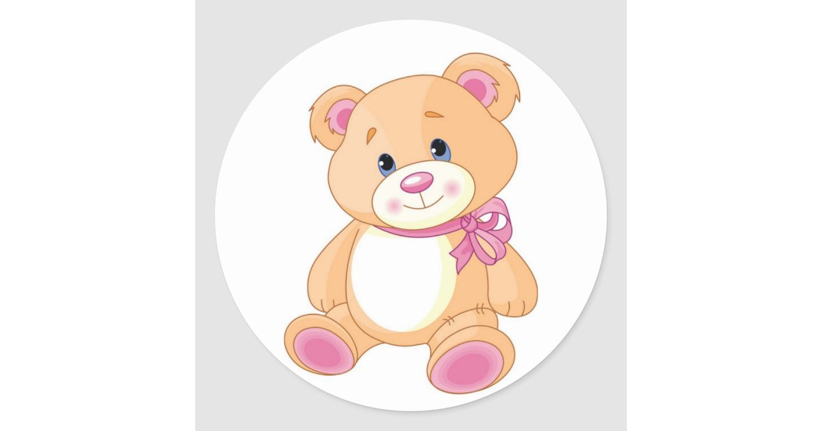Cute Teddy Bear With Pink Ribbon Classic Round Sticker