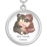 Cute Teddy Bears, Best Friends Forever, BFF, Round Pendant Necklace