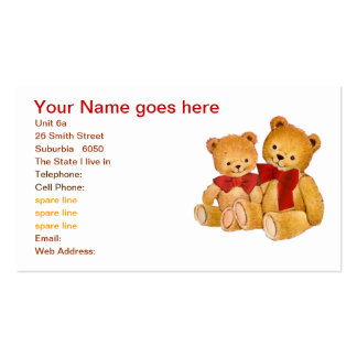 Cute Teddy Bears Double-Sided Standard Business Cards (Pack Of 100)