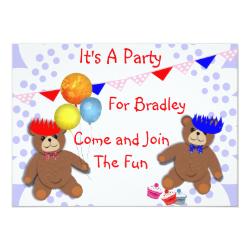 Cute Teddy Bears Fun Kids Party Invitations