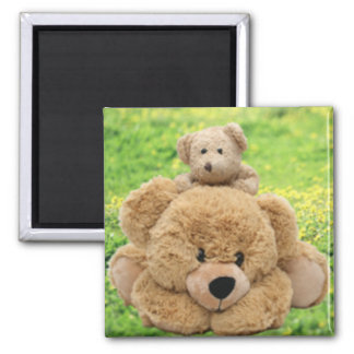 Cute Teddy Bears In A Meadow 2 Inch Square Magnet