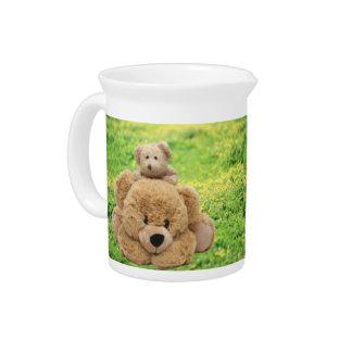 Cute Teddy Bears In A Meadow Drink Pitcher