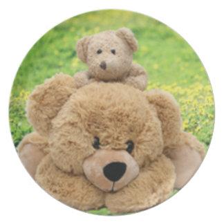 Cute Teddy Bears In A Meadow Plate