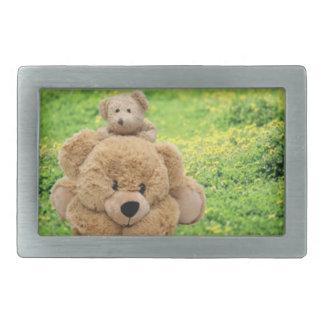Cute Teddy Bears In A Meadow Rectangular Belt Buckle