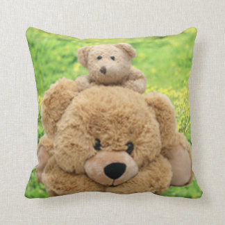Cute Teddy Bears In A Meadow Throw Pillow