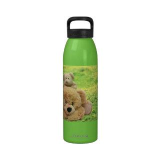 Cute Teddy Bears In A Meadow Drinking Bottles