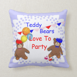 Cute Teddy Bears Love To Party Kids Throw Pillow