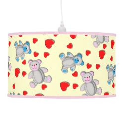 Cute Teddy Bears Sweet Love Hearts Ditsy Pattern Lamps