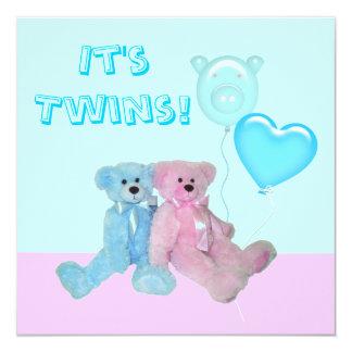 Cute Teddy Bears Twins Baby Shower Invitation
