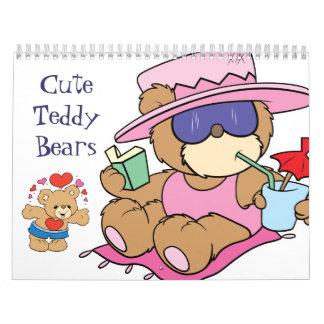 Cute teddy bears wall calendar