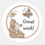 Cute teddy design border round sticker