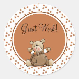 Cute teddy design for teachers classic round sticker