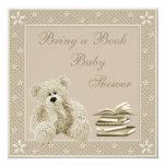 Cute Teddy Neutral Bring a Book Baby Shower Card