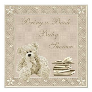 Cute Teddy Neutral Bring a Book Baby Shower 5.25x5.25 Square Paper Invitation Card