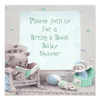 Cute Teddy Reading Bring a Book Baby Shower Invitation