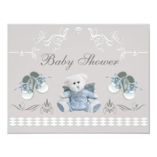 Cute Teddy & Shoes Baby Shower 4.25x5.5 Paper Invitation Card