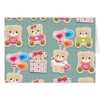 Cute teddy to bear Pattern on green background Card