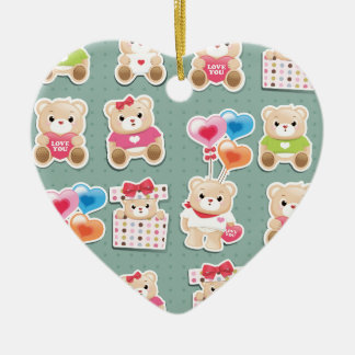 Cute teddy to bear Pattern on green background Ceramic Ornament