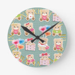 Cute teddy to bear Pattern on green background Round Clock