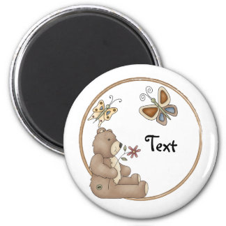 Cute teddy with butterflies 2 inch round magnet