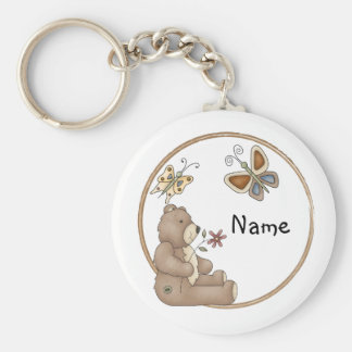 Cute teddy with butterflies basic round button keychain