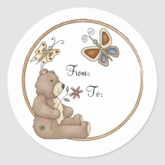 Cute teddy with butterflies classic round sticker
