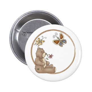 Cute teddy with butterflies pinback button