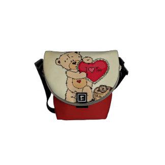 Cute Teddy with Heart Messenger Bag