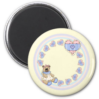 Cute teddy with hearts 2 inch round magnet