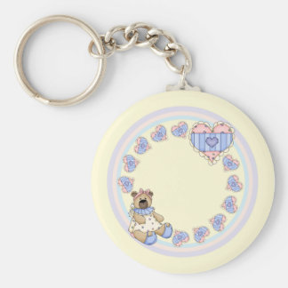 Cute teddy with hearts basic round button keychain