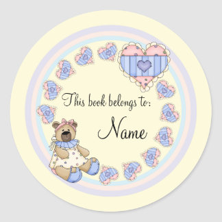 Cute teddy with hearts classic round sticker