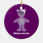 Cute TeddyBear Under Repair Recovery Anniversary Double-Sided Ceramic Round Christmas Ornament