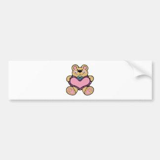cute teddybear with heart design car bumper sticker